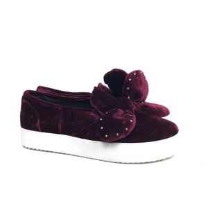 NEW Rebecca Minkoff Stacey Bow Sneakers Velvet 8